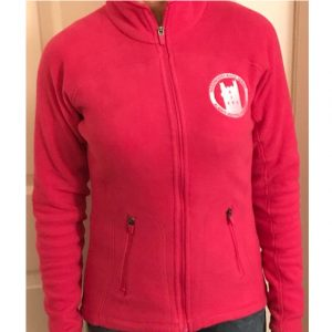 zipped fleece ladies fuschia front