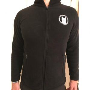 zipped fleece mens black front